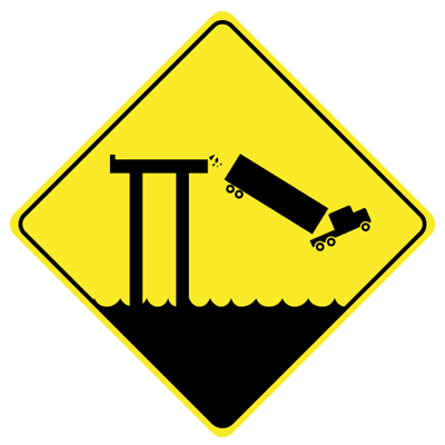 bay bridge falling truck sign